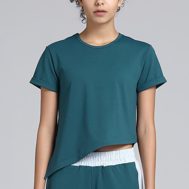 2020 NOVO Sport Top Curto Mulheres sem emenda da forma Yoga Shirts alta elástica respirável manga curta Feminino Sportswear Workout shirt