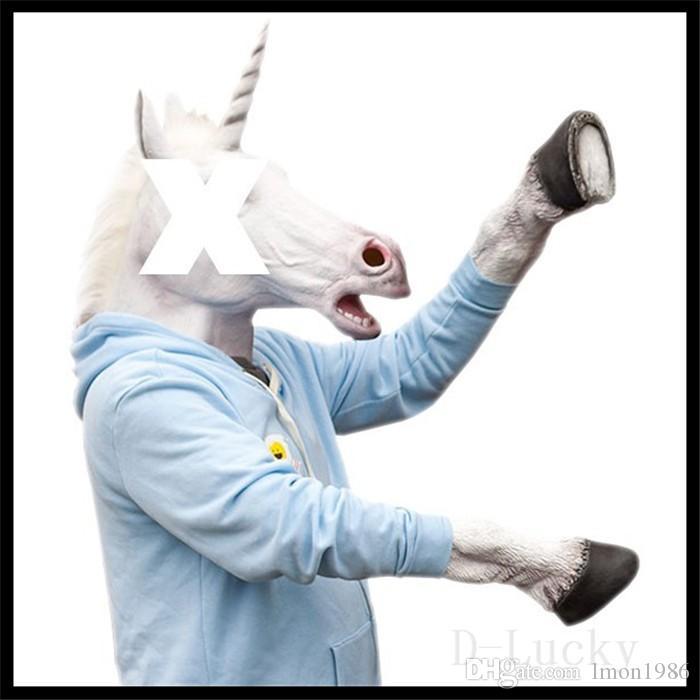 Vente chaude masque Full Face Halloween Cheval Licorne Masque Nouveauté Tête Effrayant Latex Brun Costume Théâtre Prop Partie Masque Christamas