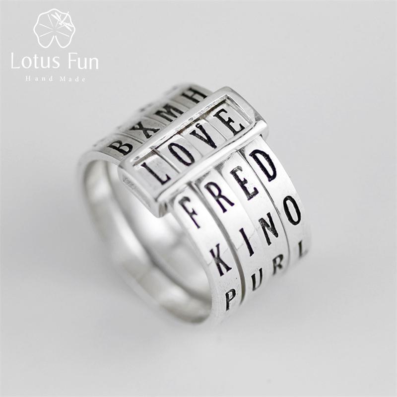 Lotus Eğlence Gerçek 925 Gümüş Doğal El Yapımı Güzel Takı Dönebilir Yüzük Kadınlar Bijoux için farklı Kelimeler Yüzük yapmak Can