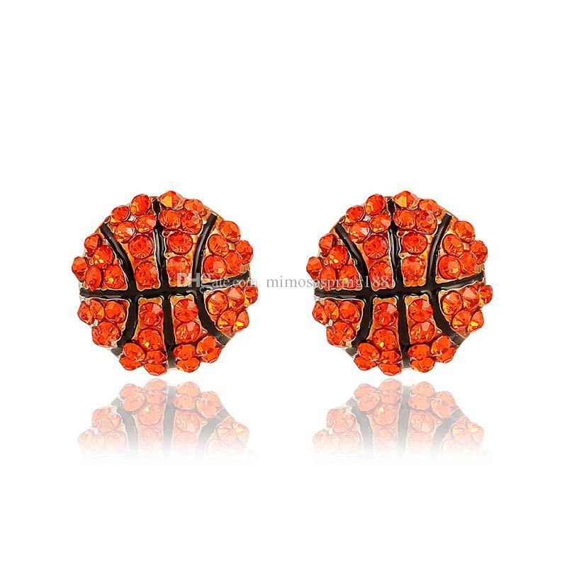 New Sports ball shape stud Earrings crystal Rhinestone basketball baseball Rugby softball volleyball Earring For women Fashion Jewelry Bulk