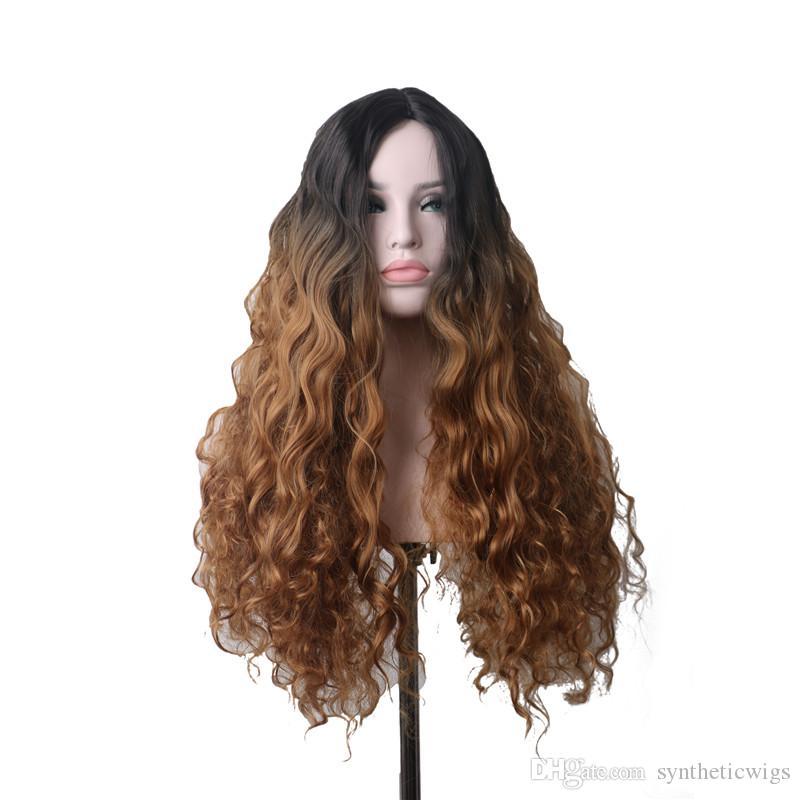 peluca rizada larga de maíz WoodFestival pelucas sintéticas de color marrón para las mujeres negras raíces de color ombre de guerra diaria