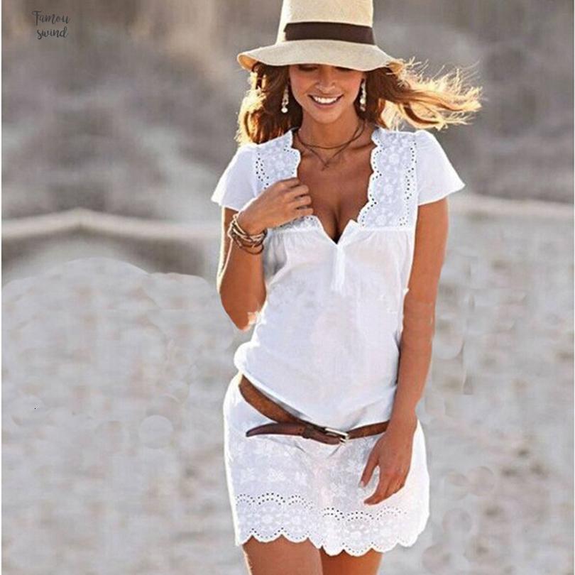 Vestido Summer Girls New Moda Bordados Foral Mulheres Branco Pescoço V manga comprida Lápis curto Mini vestido Plus Size