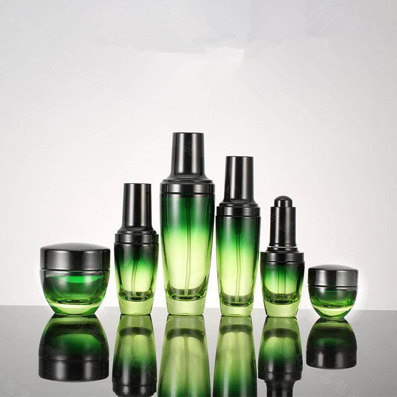 Vetro verde bottiglia vuota contenitore cosmetico Bottiglia Essenza contagocce Spray Crema Cura della pelle di imbottigliamento 15g 50g 30/50 / 100ml