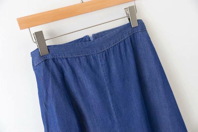 h3unG novas roupas femininas 2,019 verão B5617 estilo longo denim saia de cintura alta com zíper volta Zipper saia Tencel denim overskirt