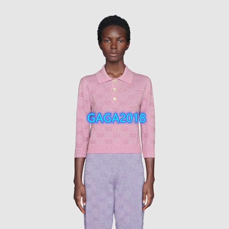 high end women girls t-shirt knit tops jacquard interlocking letter button lapel neck short sleeve tee shirt blouse 2020 fashion design polo