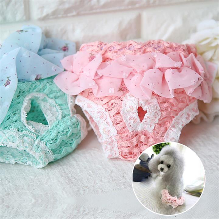 Femme Chien Physiologique Pantalons sanitaires pour animaux Chienne Chien Sous Diapers P'tites culottes pour grands chiens dentelle Jumpsuit pour chien