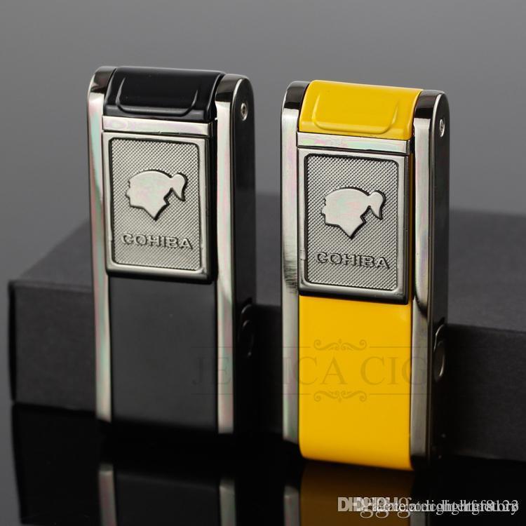 Мужские гаджеты COHIBA 2 Зажигалка для факела Flame Jet Relayable Ветрозащитные бутановые газовые зажигалки с подарком от удара сигарой