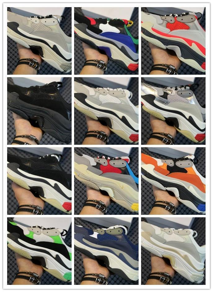 2020 أحذية الثلاثي الصورة الرجال الأخضر 17fw النسائية الفاخرة باريس الأحذية chaussures الأزياء الدانتيل ثلاثة طبقة متابعة الأحذية المسطحة