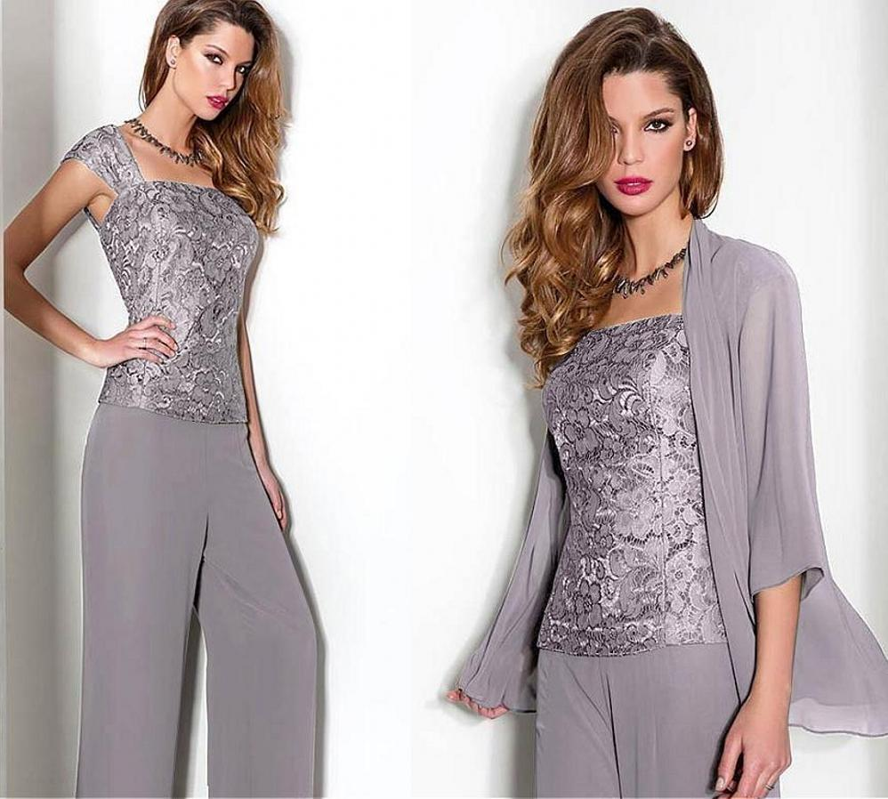 Lace Chiffon Mother Of The Bride Pant Suits With Long Sleeve Jacket Spaghetti Straps Three Pieces Trousers Formal Evening Gowns