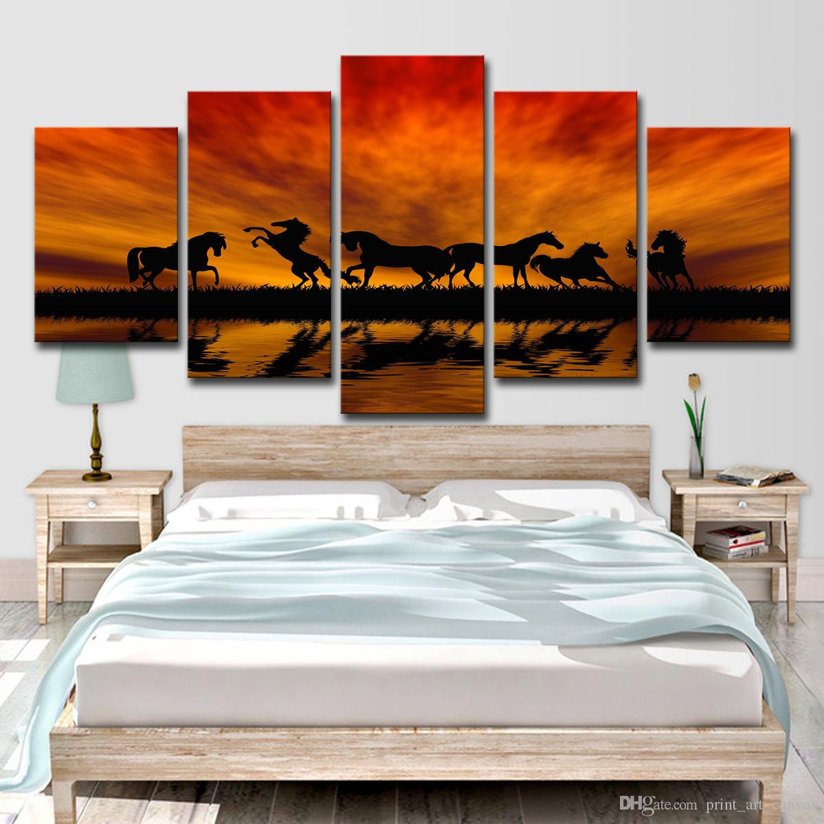 2020 Canvas Wall Art Pictures Living Room Hd Prints Lake Poster Joyous Horses Sunset Silhouette Paintings Home Decor From Print Art Canvas 14 77 Dhgate Com