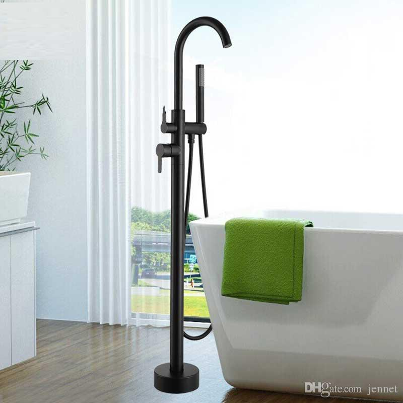 Round Black Bathtub Floor Standing Faucet Mixer Single Handle Mixer Tap Waterfall Bathtub Shower bathroom faucet free stand faucet