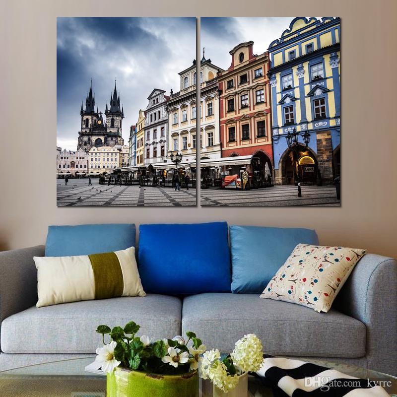 2 модульных брезентовых полотна чешская прага улица вечерняя картина печать на холсте для украшения дома