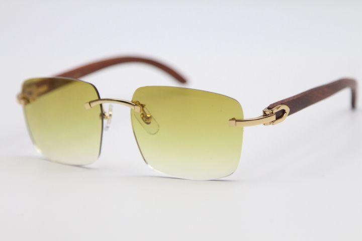 Lente estilo ornamental ornamental 8300816 luz de ouro óculos de sol sem aro unisex madeira óculos cor 2021 condução óculos Tamanho: 54-18-140 QQCO