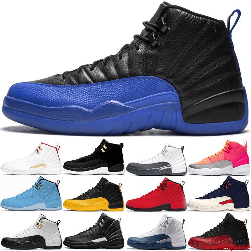 Erkekler Basketbol Ayakkabı 12 Chaussures 12s Koyu Gri Oyun Kraliyet Ters Taksi Sıcak Punch Gym Kırmızı Erkek Eğitmenler Açık Spor Sneakers Boyut 8-13