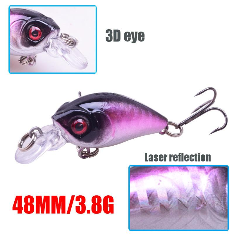 1pcs Crank Bait 4.5cm 3.8g Wobblers Carp Artificial Hard Fishing Lure Diving Depth 0.1-0.3m Lake River Fishing Tackle