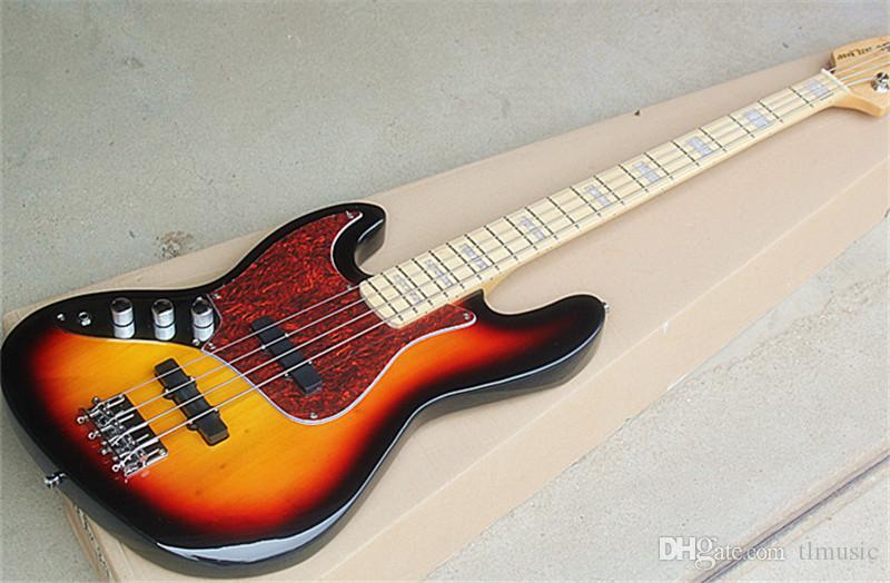 Wholesale Direct 4-string Left Hand Sunburst Electric Bass Guitar with Red Tortoise Pickguard,Maple Fretboard,can be customized.