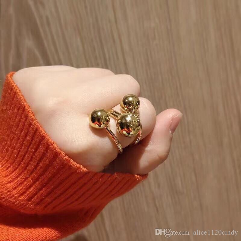 여성 유명 브랜드 보석 섬세한 편지 링 골드 컬러 볼 손가락 반지 크리스마스 파티 보석에 대한 정신 볼 비드 링 라운드 패션