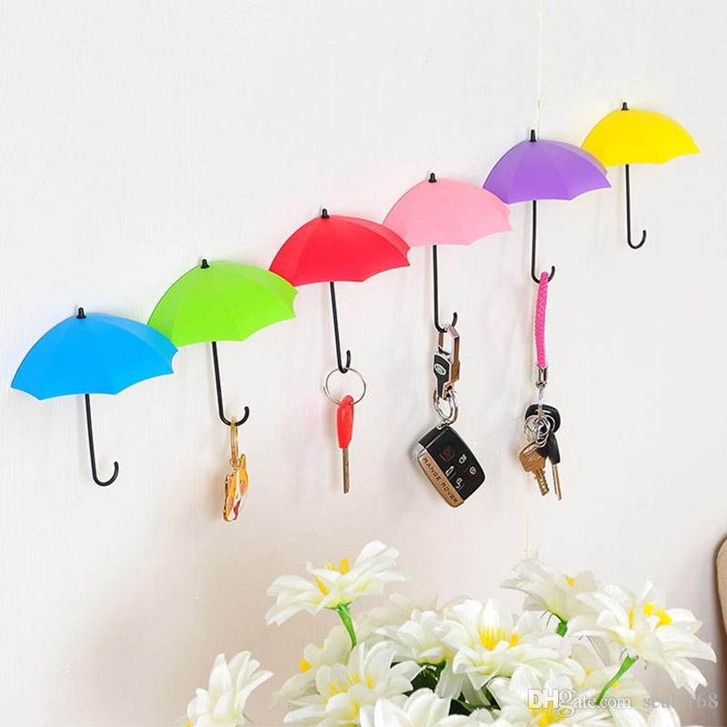 Umbrella Shaped Wall Hooks 3pcs/Set Dual Key Hanger Rack Holder For Kitchen Room Bathroom Wall Decorative Organizer HH9-2251