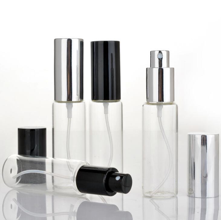 Garrafas de perfume de alta qualidade 30ml de vidro transparente de vidro Frascos do pulverizador 30 ml frasco vazio Fragrance Packaging Com Preto Prata Cap LX1375