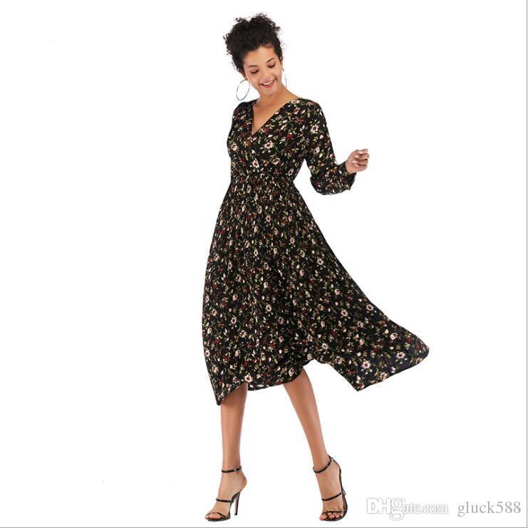 Gonna Abbigliamento europea piccolo vestito floreale chiffon vita transfrontaliera e l'autunno e l'inverno delle donne donne casuali