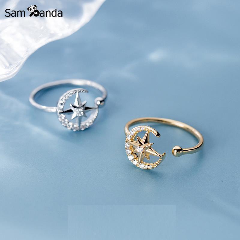 Gioielli Sampanda 925 Sterling Silver Ring modo coreano di stile della stella della luna Open Hand monili di modo dell'anello regalo