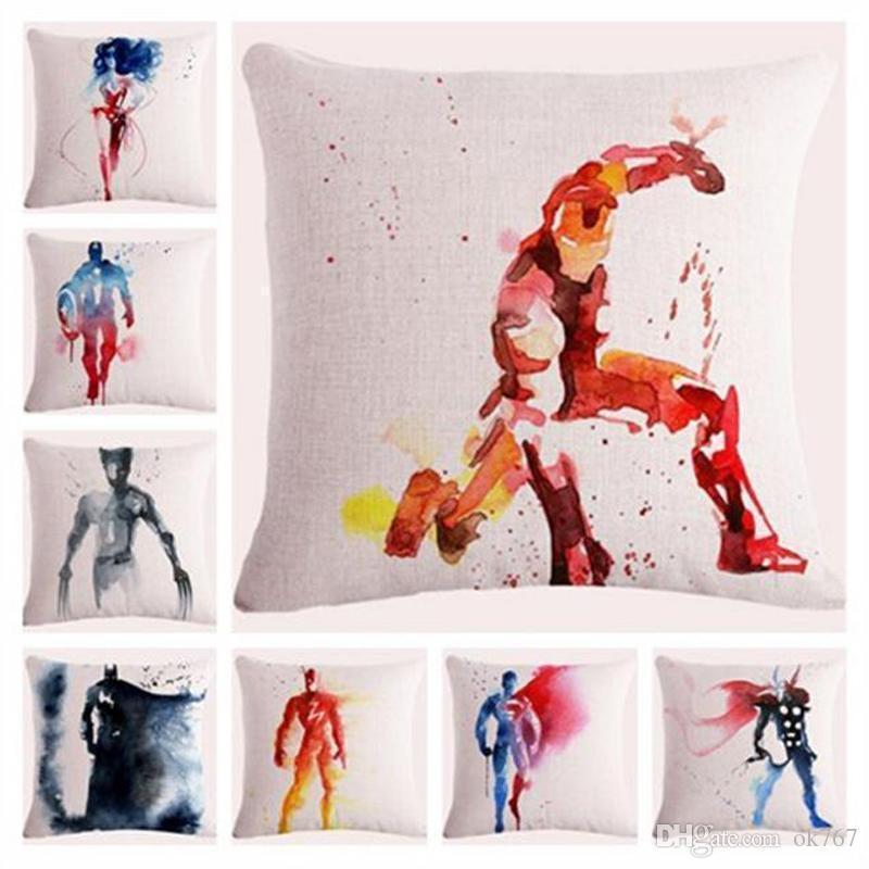 A 2017 Watercolor Vingadores Liga da Justiça super-herói roupas de algodão americano Capitão O Thor Homem de Ferro Hulk almofada fronha lance