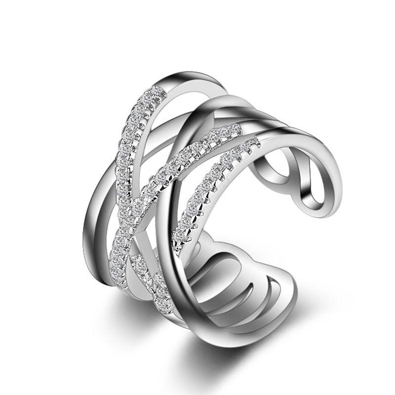 Luxo 925 Anel de Prata Mulheres Camadas Duplas Influx Linhas Diamantes Anéis Simples Ajustável Atacado Direto Da Fábrica