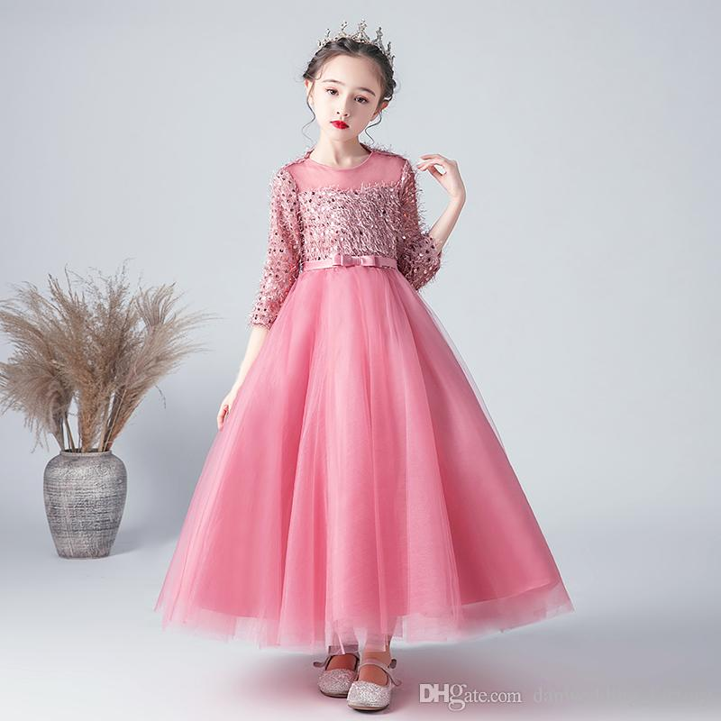 Beauty Ivory Pink Tulle Jewel Sleeves Sequins Girl's Pageant Dresses Flower Girl Dresses Birthday Dresses Custom Made Size 2-14 FLY559