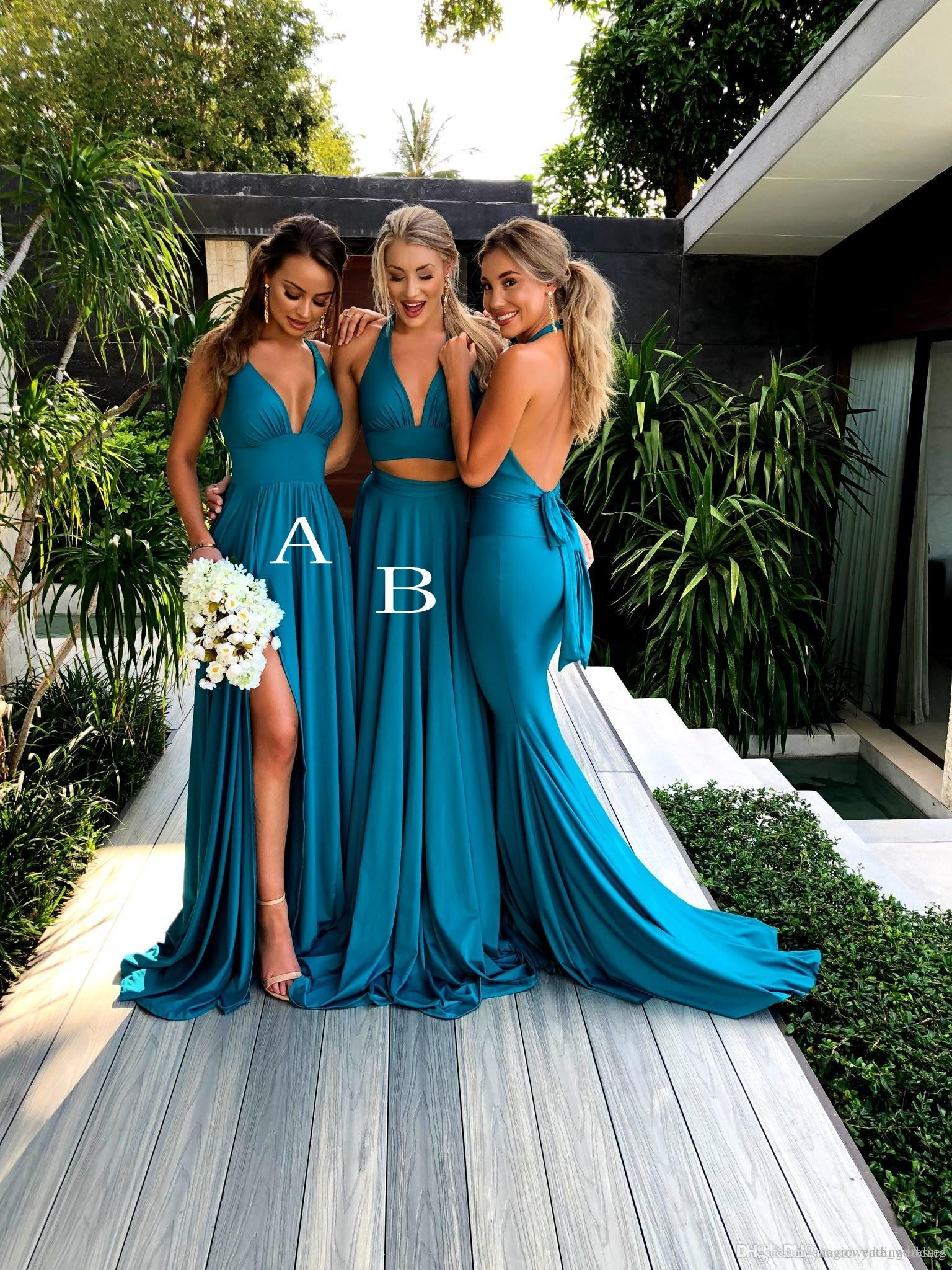 Großhandel Zwei Stück Türkis Blau Brautjungfernkleider V Ausschnitt Satin  Bodenlangen Sommer Brautjungfer Kleider Sexy Hochzeit Party Kleider Sweep