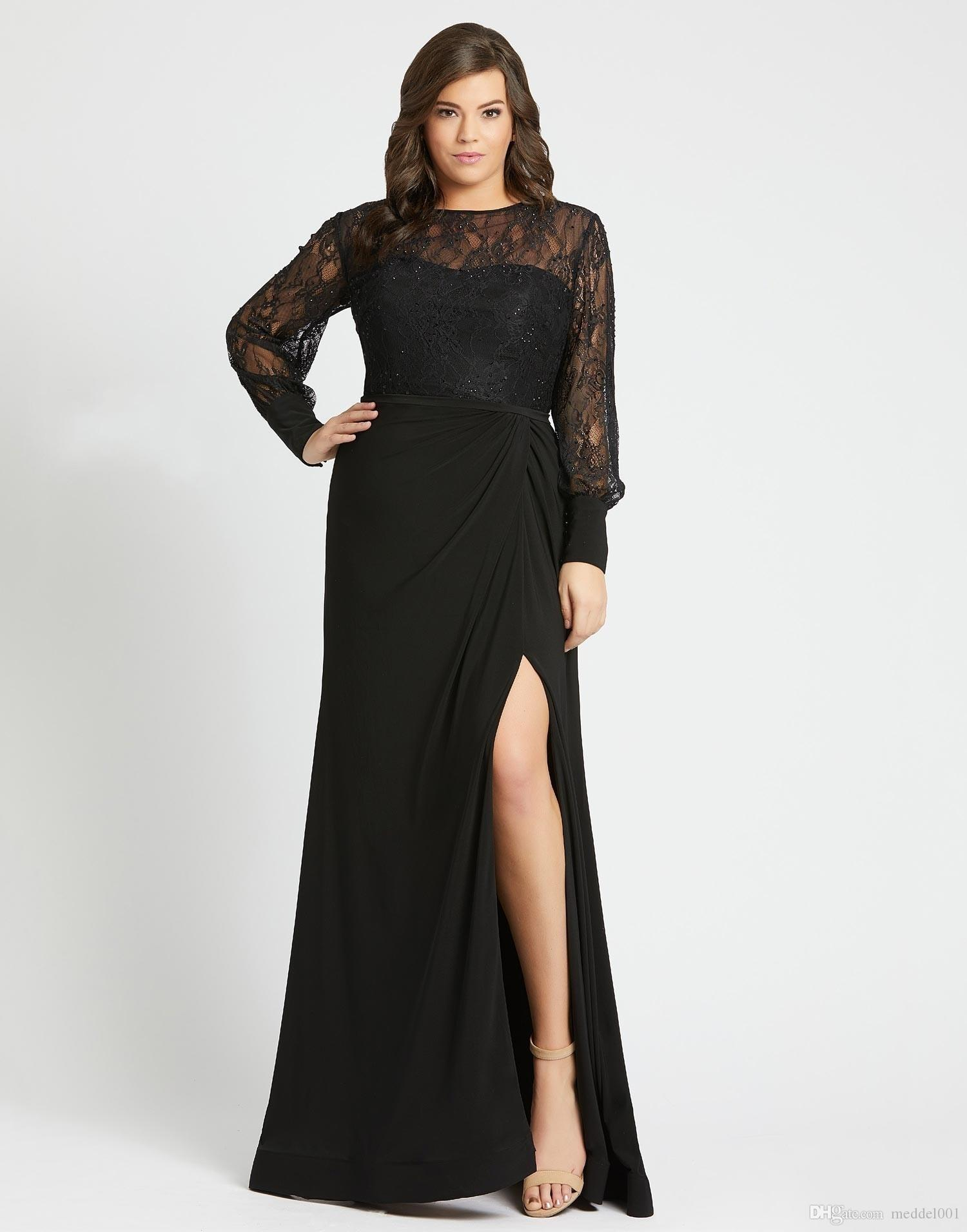 Black Lace High Side Split Plus Size Formal Evening Dresses For Special  Occasion Women 2020 Lace Beads Long Sleeve Pleated Prom Party Dres Dresses  For ...