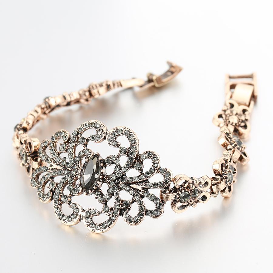 Großhandel Kinel Luxus Grau Kristall Blume Armband Für Frauen Antike Gold Türkische Hochzeit Schmuck 2018 Neue Von Outlet3 2044 Auf Dedhgatecom