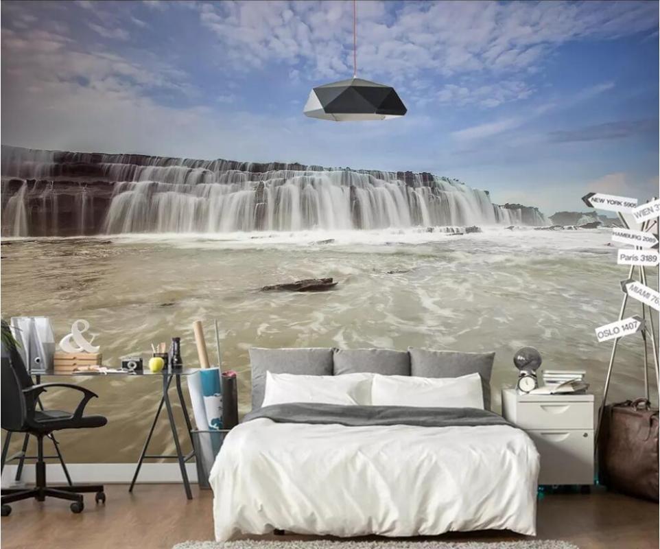 CJSIR пользовательские обои настенной росписи 3D невооруженным глазом водопад воды озера Голубое небо росписи ТВ фоне стены papel де parede украшения