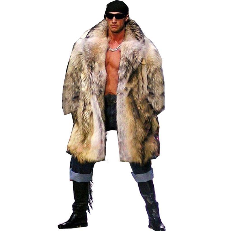 Kış Erkekler Uzun Saç Rakun Kürk Faux Fur Dış Giyim Palto Erkek Punk Parka Ceket Hombre Palto Giyim Artı boyutu