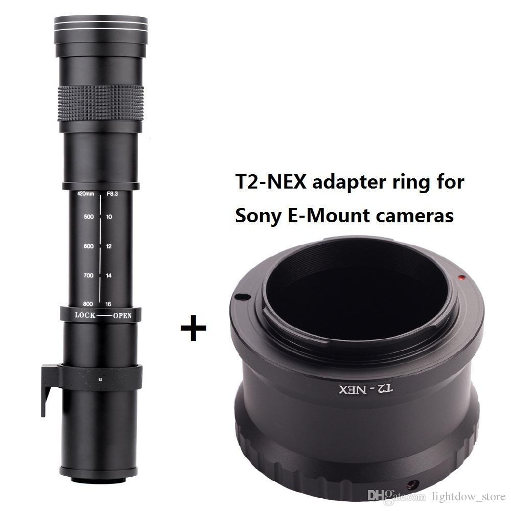 Lightdow 420-800mm F8.3-16 Telephoto Manual Zoom Lens+T-Mount for Sony E-Mount Cameras NEX3 NEX6 NEX-7, A6000,A7,A7R,A7M2,A7R2,A6300,A6500
