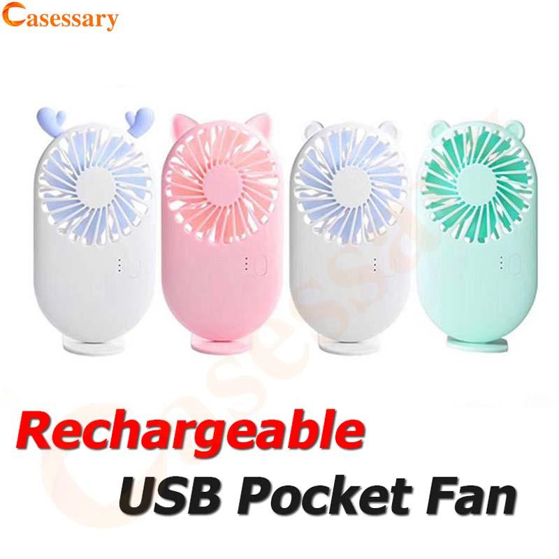 Ventilador recarregável portátil com bateria de lítio USB carregando mini tamanho de bolso ao ar livre ventilador de varejo DHL transporte