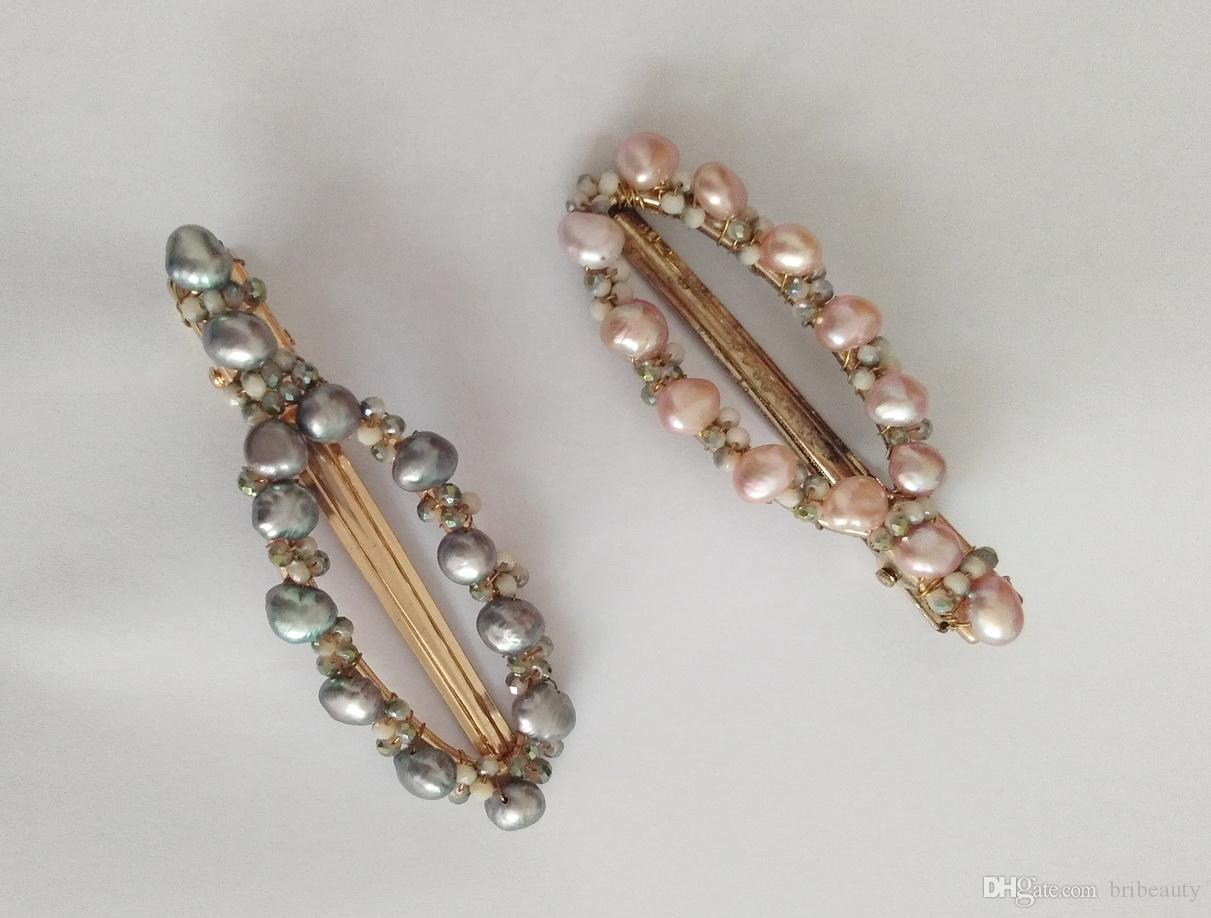 Nuova clip di capelli di perle naturali Realizzate a mano con perno di capelli di perle reali Progettista floreale Decorazioni nuziali romantiche da sposa per ragazze