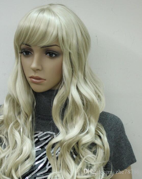 LL 1838 New blonde blonde synthétique bouclée frange peau haut long wigtjty