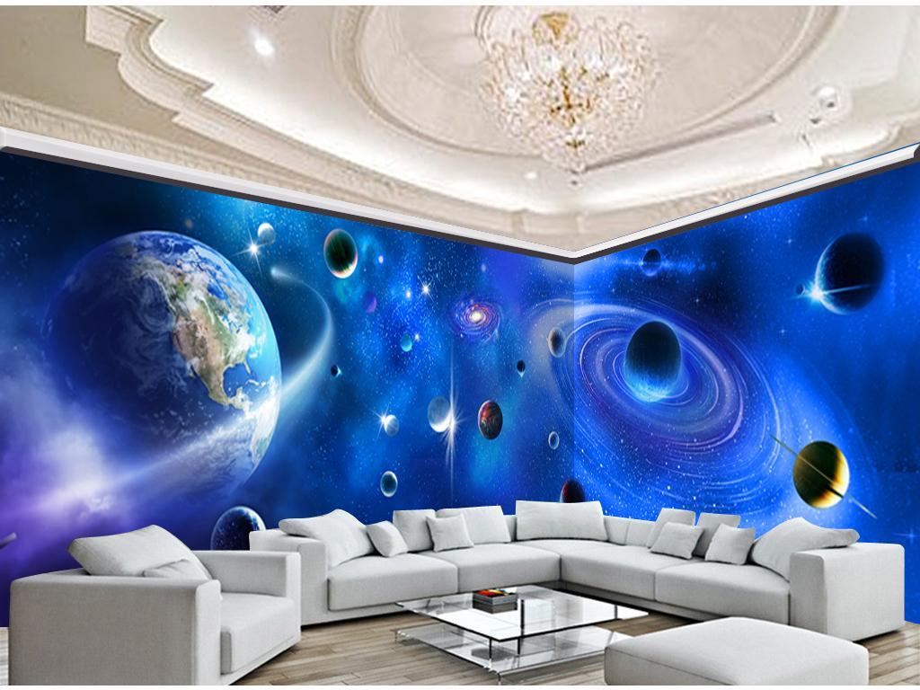 Papel de parede interno estrelado da parede da decoração do fundo da tevê do universo 3D do papel de parede de HD do papel de parede 3D