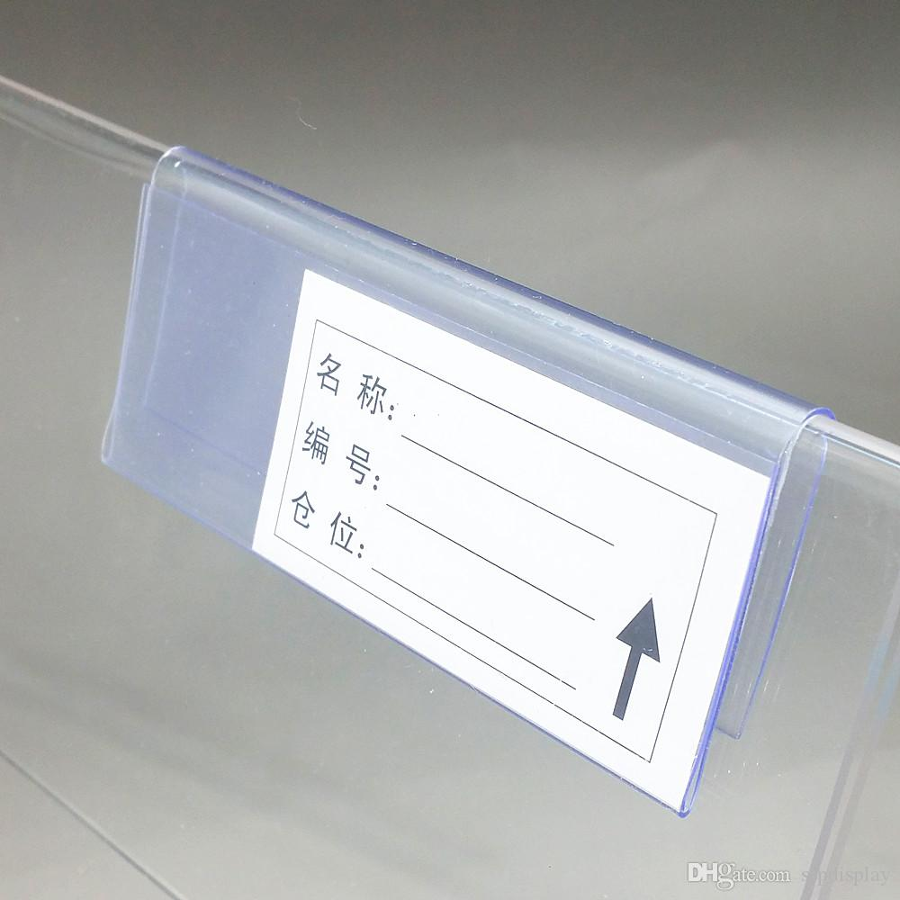 10/8/6cmx4.2cm Clear Plastic PVC Price Tag Sign Label Display Clip Holder For Supermarket Store Wood Glass Shelf Fitting 50pc