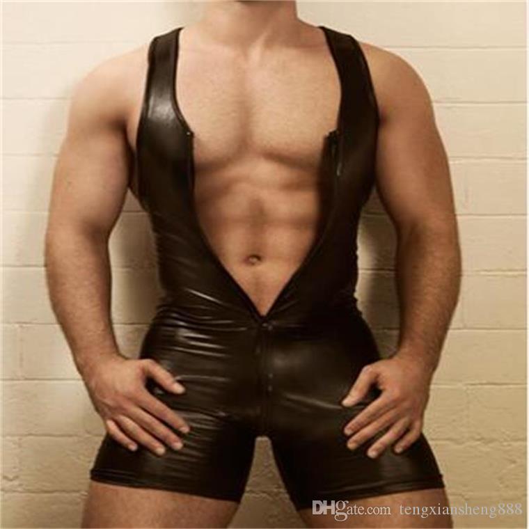 Mens Gays Bondage Fetish Sexy PVC Catsuit Tuta Playsuit Clubwear Tuta vestito L973 MLXLXXL3XL