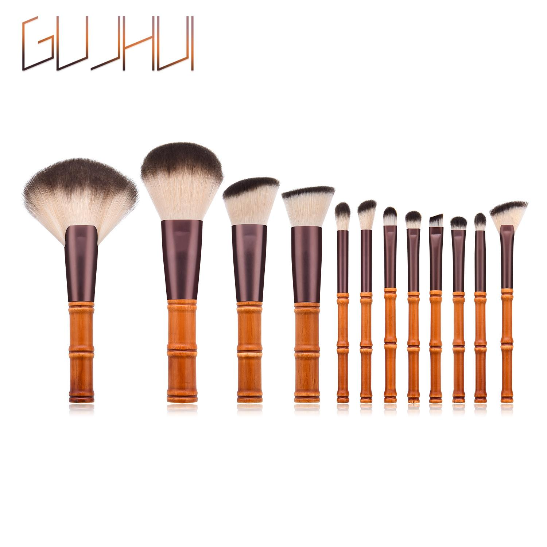 12PCS Maquillage Pinceaux de bambou en forme de teint en poudre crème Pinceau fard à paupières Kits classiques Lip Correcteur cosmétiques Maquillage premium outils