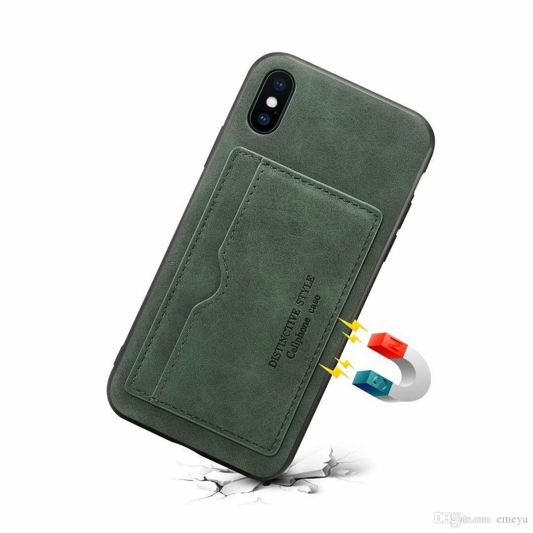 Carte de crédit élevée Porte-qualit Porte-monnaie en cuir pour iPhone 11 pro max x xs XR 6 7 8 plus Couverture arrière Béquille Samsung Coque s9 s10 note10