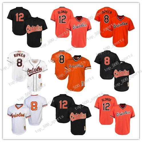Mens Baseball Jerseys 여성 청소년 어린이 볼티몬 고품질 니트 저지 트레일백 플레이어 8 Cal Ripken Jr. 12 Roberto Alomar 1