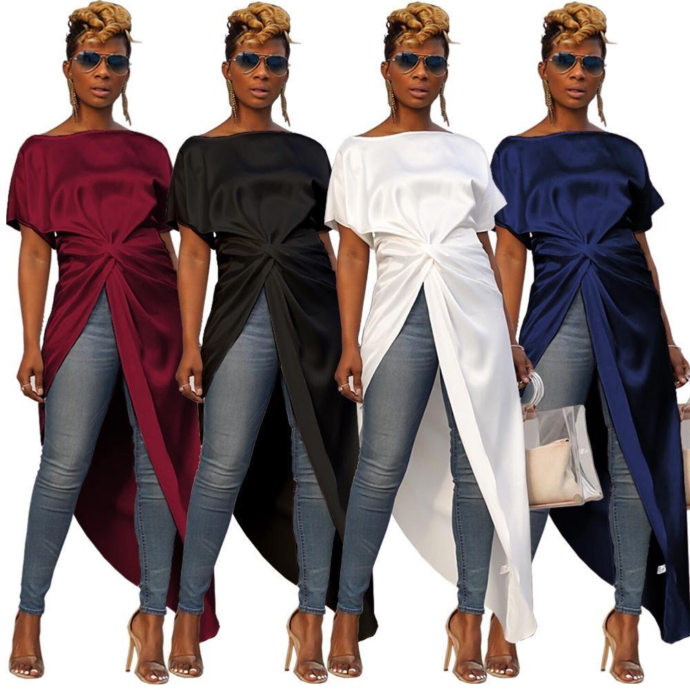 Manga corta irregular Tees Mujeres de Split largo atractivo de las tapas sólido trasero largo corto delantero forman la blusa