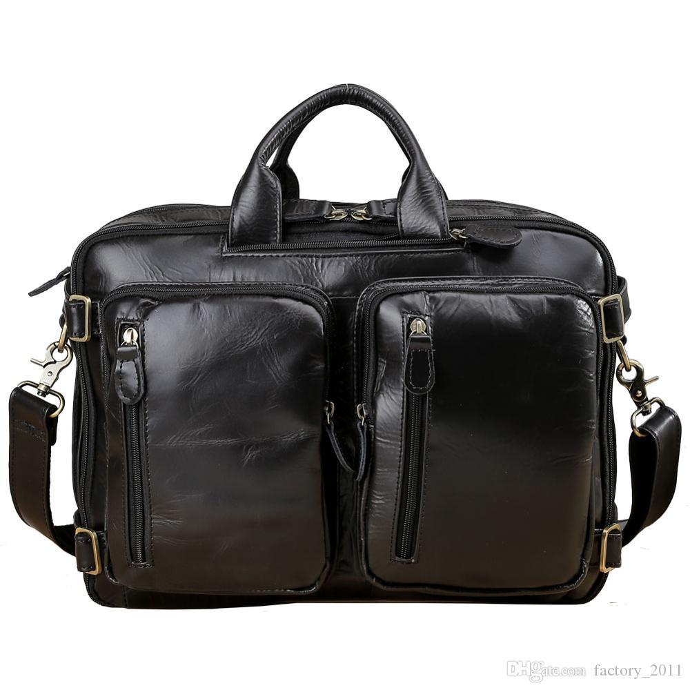 미친 말 소 가죽 노트북 서류 가방 정품 가죽 배낭 가방 다기능 어깨 가방 손 가방 배낭 메신저 가방