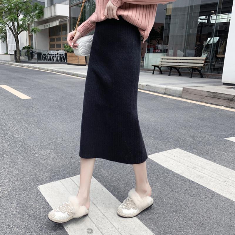 Lucyever Korean Women Knitted Skirts Autumn Winter Slim High Waist Midi Sweater Skirt Casual Thick Elastic Warm Female Faldas