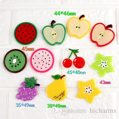 Mix 100pcs DIY resin flatback simulated star Pitaya fruit apple cherry pear grape charms decoration fashion jewelry making material