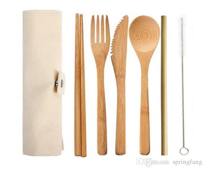 Bambù naturale Viaggi coltelleria Il kit include Coltello, Forchetta, cucchiaio, Paglia e spazzola di pulizia per Camping Ufficio pranzo SN38