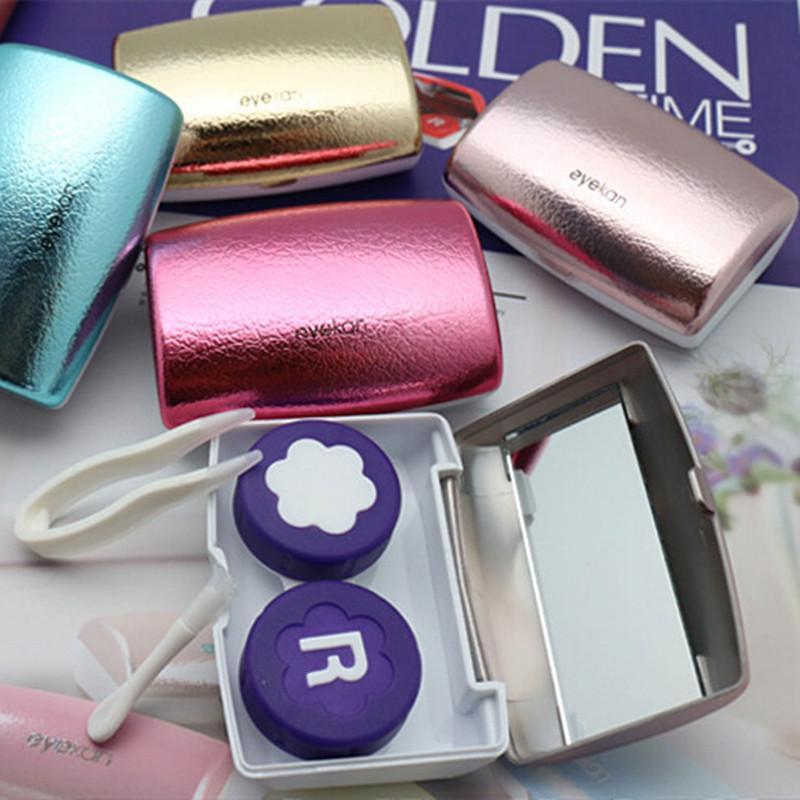 Titular Eyekan Luxo lentes de contato Box For Women rígido Lens Proteção Para Olhos Lentes de contato Container