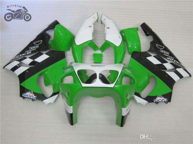 가와사키 닌자 1996-2003 ZX 7R ZX7R 녹색 블랙 바디 수리 오토바이 유선형 부품에 대한 사용자 정의 중국어 바람막이 키트 96-02 03 ZX7R